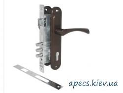 Замок врезной Avers 2800 with BP + ручки на планке ASPECT РП-85.23 (UA) медь