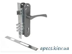 Замок врезной Avers 2800 with BP + ручки на планке ASPECT РП-85.23 (UA) серебро