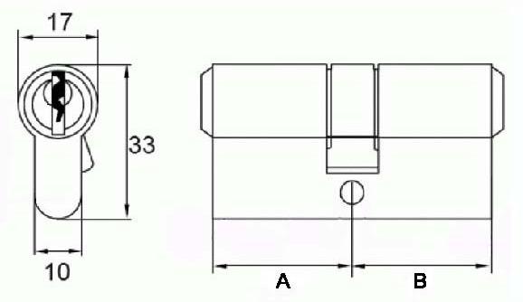 Розміри циліндра DIN (Europrofile) стандарту або євроциліндрами